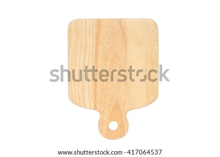 Wooden chopping (cutting) board -  isolated plate on white background - stock photo