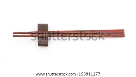 Wooden chopsticks isolated on white background - stock photo