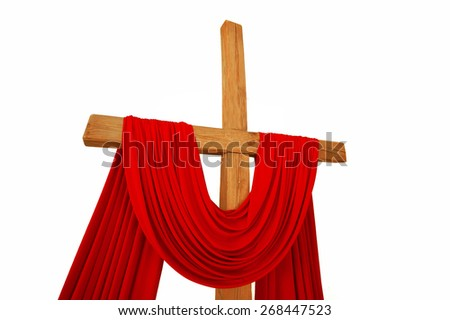 wooden Christian cross with a red cloth isolated on a white background - stock photo