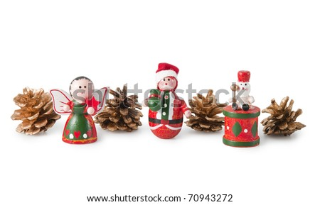 Wooden Christmas toys isolated on a  white background - stock photo