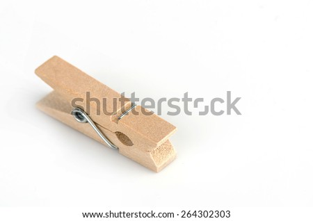 Wooden clothespin isolate on white background. - stock photo