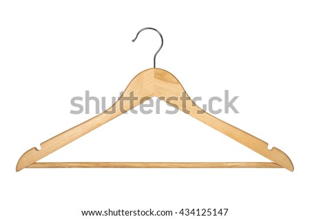 Wooden Coat Hanger Isolated on White Background (with clipping path) - stock photo
