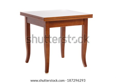 Wooden coffee table over white - stock photo