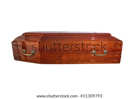 Wooden coffin. Outdoor wood coffin lay in the body. Ritual objects for burial. Conduct of the deceased on his last journey. Surrender body dust of the earth. Christian funeral ritual - stock photo