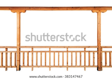 Wooden columns and railing isolated on white background - stock photo