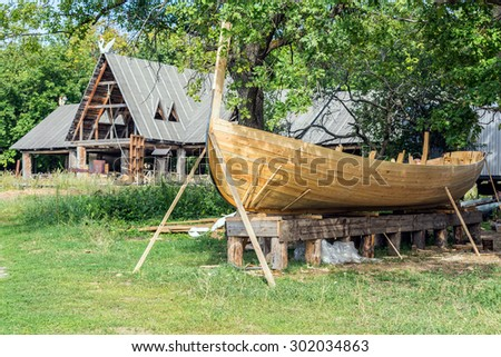 wooden construction of yacht, boat  - stock photo