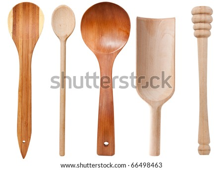 Wooden cooking utensils isolated on white background with clipping path - stock photo
