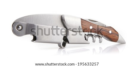 """Wooden corkscrew of type """"sommelier knife"""" isolated on white taken in wide angle - stock photo"""