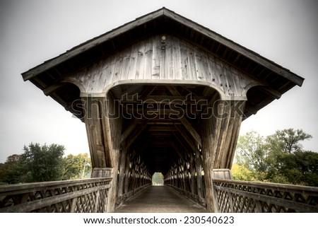 Wooden Covered Bridge Guelph Ontario over eramosa river - stock photo
