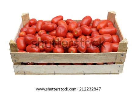 wooden crate full of fresh raw tomatoes - stock photo