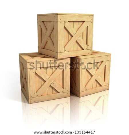 wooden crates isolated - stock photo