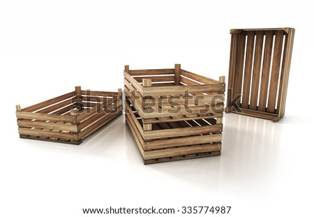 wooden crates isolated on white background. 3d render illustration - stock photo