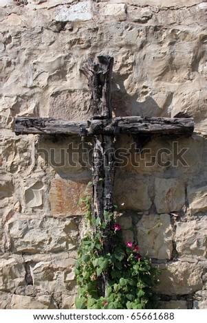Wooden cross, Abbey of the Dormition in Jerusalem, Israel. - stock photo