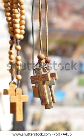 wooden cross in Jerusalem - stock photo