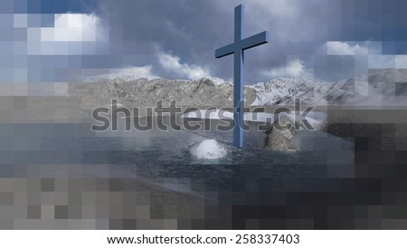 Wooden cross in winter made in 3d software - stock photo