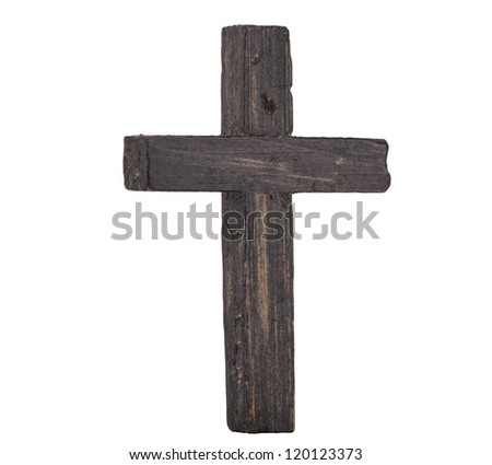 Wooden cross isolated on white - stock photo