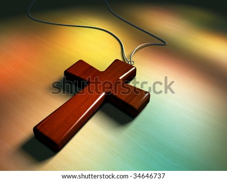 Wooden cross, light coming through some stained glass window. Digital illustration. - stock photo