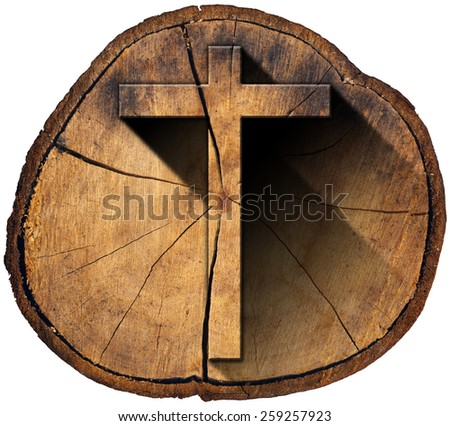 Wooden Cross on Tree Trunk. Wooden Christian cross on a section of tree trunk isolated on white background - stock photo