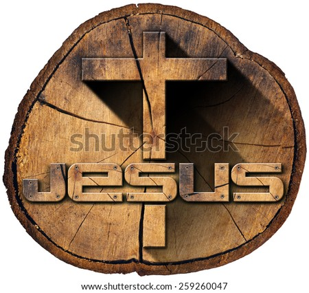 Wooden Cross on Tree Trunk. Wooden Christian cross on a section of tree trunk with text Jesus isolated on white background - stock photo