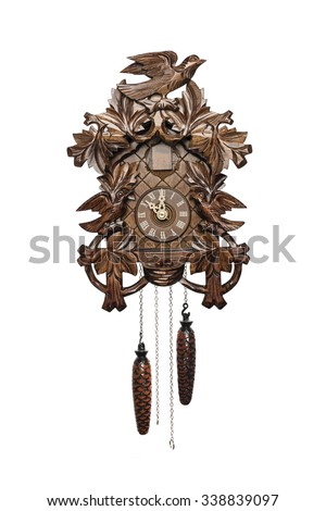 wooden cuckoo clock isolated on white - stock photo