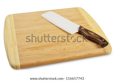 Wooden cutting board with a kitchen knife. Isolated on white. - stock photo