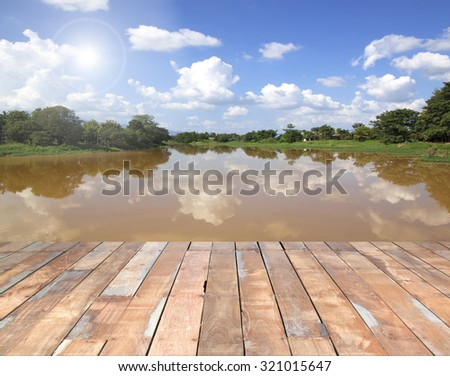 Wooden deck outside Red River. - stock photo