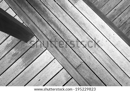 Wooden decking at various heights in aged timber - stock photo