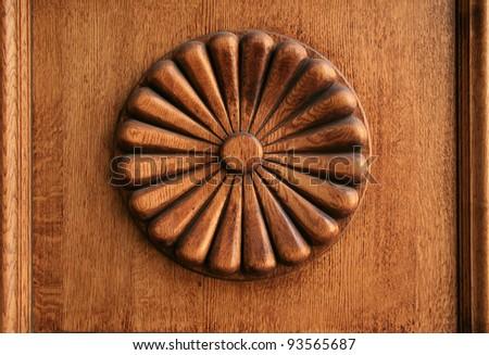 wooden decor-rosette - stock photo