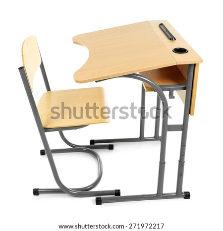 Wooden desk and chair isolated on white  - stock photo