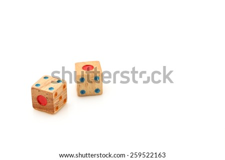 Wooden dice for board game isolated on white background. - stock photo