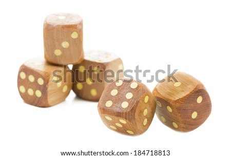 Wooden dices, isolated on white - stock photo