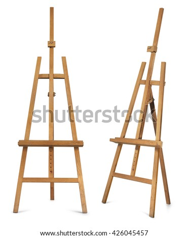 Wooden display easel front and side view isolated on a white background.  - stock photo