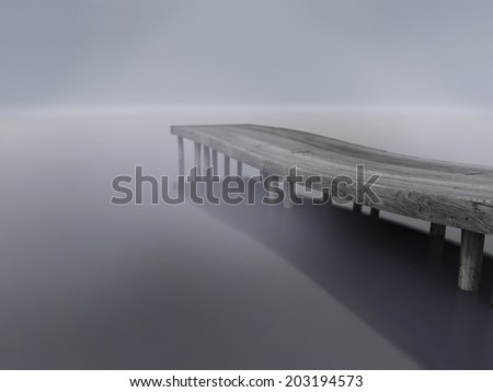 Wooden dock on the lake in to the fog - 3d render photo-realistic illustration of depression for example  - stock photo