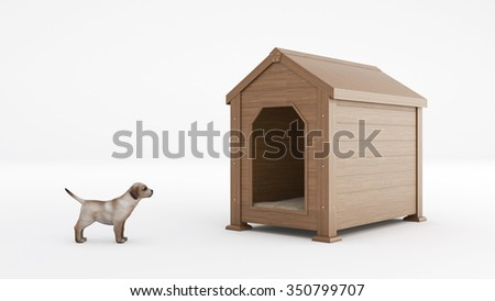 wooden dog's house. concept size dog's house - stock photo