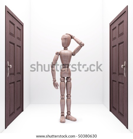 Wooden doll between two doors. Concept of choice and destination. - stock photo