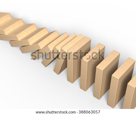 Wooden dominoes falling, high angle view, isolated on white background. - stock photo