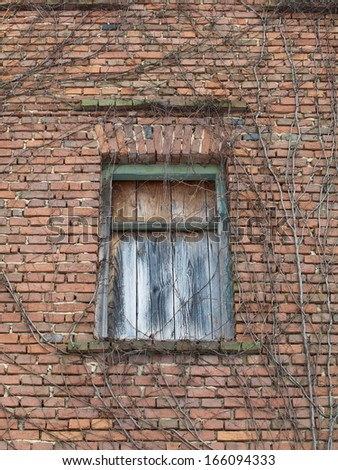 wooden door and front of an old brick house - stock photo