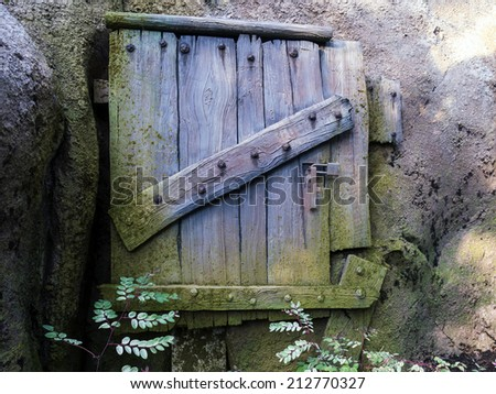 Wooden Door covered with mold secured with a modern lock  - stock photo