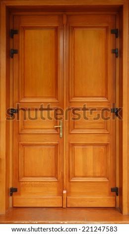 Wooden door design - stock photo