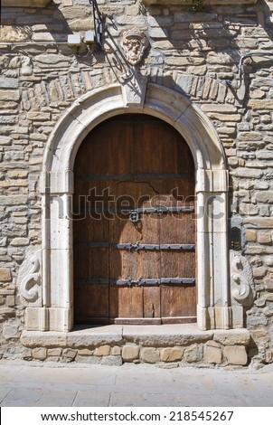 Wooden door. Guardia Perticara. Basilicata. Italy. - stock photo
