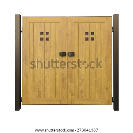 Wooden door in Japanese style - stock photo
