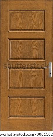 wooden door isolated - stock photo