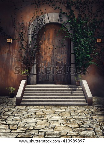 Wooden door with ivy and lamps in the castle courtyard. 3D illustration. - stock photo
