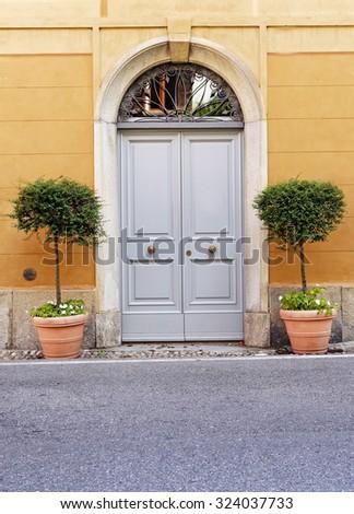 Wooden double doors with flower pots. - stock photo