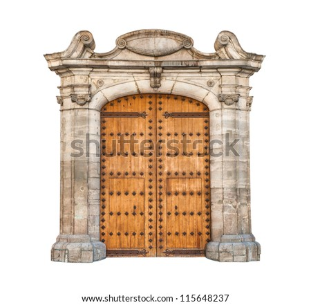 Wooden double doors with iron details. Beautiful stone arch designed in gothic style. Massive doorway isolated on white background. Majestic architecture of building. Facade of house in old style. - stock photo