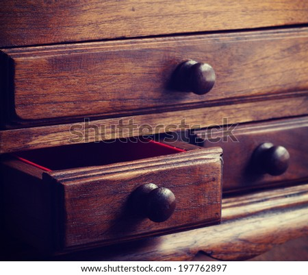 wooden drawers old vintage retro style - stock photo