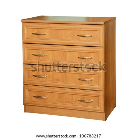 Wooden dresser isolated on white - stock photo