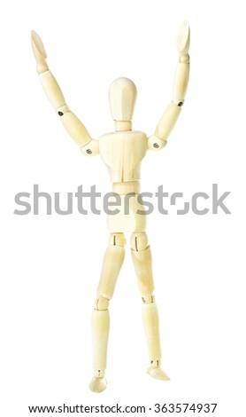 Wooden dummy - greeting (isolated on white background) - stock photo
