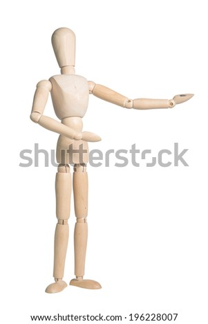 Wooden Dummy Isolated Over White Background with clipping path  - stock photo