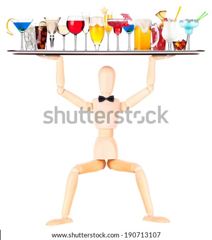 wooden Dummy waiter with tray full of alcoholic drinks and cocktails - beer,martini,soda,champagne,whiskey,wine,cola,cocktail - stock photo